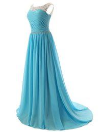 Wholesale Sexy Size 18 Dresses - 2016 18 Colors Long Prom Evening Dress Scoop Dress Cheap Formal A-line Evening Gowns Dress Vestido De Festa