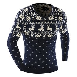 Wholesale Cashmere Knit Dress - Wholesale-Men's Animal Pattern 2016 Fashion Brand pull homme Cashmere Wool Pullover christmas sweater men Dress Knitted Sweater
