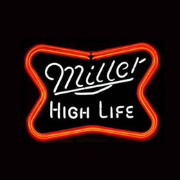 Wholesale Miller High Life - new MILLER HIGH LIFE Real Glass Neon Light Sign Home Beer Bar Pub Recreation Room Game Room Windows Garage Wall Sign