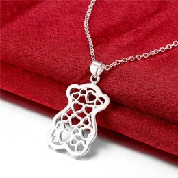 Wholesale Small Bore - Hot sale women's small bear shape hollow Pendant necklace sterling silver necklace STSN770,fashion 925 silver necklace christmas gift