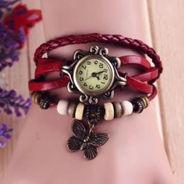 Wholesale Vintage Leather Band Bracelet Watch - 1pcs Women Leather Band WristWatches charm Bracelet Retro Watches Vintage Eiffel Tower Pendant Watches Weave Wrap Quartz Watches