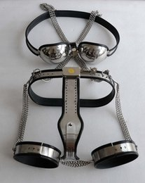 Wholesale Male Bondage Bras - M115 new bondage stainless steel male lockable & adjustable chastity device with bra & ankle restraint , sex toys for men