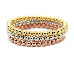 Wholesale gold 18k 24k chain - Wholesale 10pcs lot 6mm 24K Real Gold, Rose Gold, Platinum Plated Round Copper Beads Men Woman Birthday Gifts Stretch Bracelet