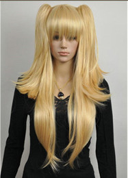 Wholesale Extra Long Blonde Hair - peruvian glueless full lace human hair wigs lace front wigs for>>>Dark Gold Blonde Extra Long Lolita Girl Split Straight Cosplay Wig+2 Ponyt
