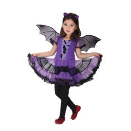Wholesale Girls Wing Dress - Purple Batgirl Cosplay costume three-piece sets hair accessory+dress+wings Vampire dress for children Halloween party clothes for girls EMS