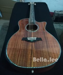 Wholesale Deluxe Acoustic Guitar - Custom acoustic guitar,All solid KOA wood 41 inch cutaway deluxe acoustic electric guitar,China made free shipping