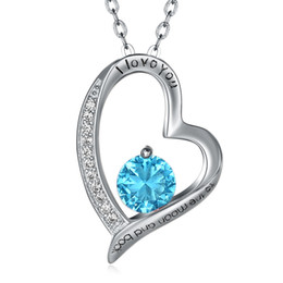 Wholesale romantic love light - I Love You to the Moon and Back 925 Sterling Silver Necklace Romantic Wedding Engagement Anniversary Ladies Women Girls Gifts Light Blue