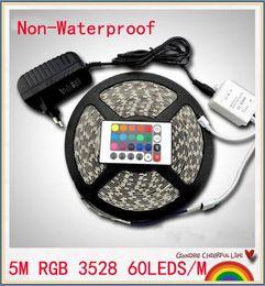 Wholesale Led Power Supply 12v 5w - 5m RGB led strip SMD 3528 no Waterproof 300 Led Strip Light + 24 Keys IR Remote+12V 2A power supply free shippin
