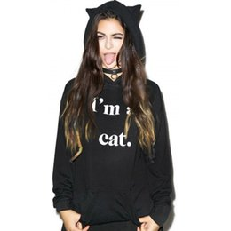 Wholesale Cat Ear Hoodies - Wholesale- Kawaii Black Hoodie Women Sweatshirt Active Long Sleeve Hoody Wiht Cat Ears I AM CAT Print Hoodie Tracksuit Jumper Femme