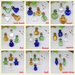 Wholesale Jewelry Small Glass Vials - 20pieces lot mix color figurate small glass bottle with cork glass vial pendant charms cork wishing bottles jewelry findings supply