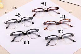Wholesale Retro Nerd Glasses - Fashion Women Men Designer Retro Star Glasses Clear Lens plain mirror Eyeglass Reading Spectacle Frame Nerd Geek Optical Eyewear