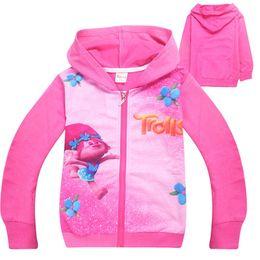 Wholesale Girl Baby Coat Beige - 2017 Trolls Clothing Baby Girls Sweatshirt Children's Hoodies Autumn Clothing Sport Tops Hooded Jacket For Girls Outwear Coat