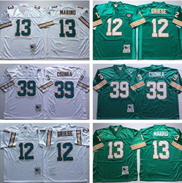 Wholesale Green Road - Throwback #12 Bob Griese Jersey Embroidery #13 Dan Marino Retro Jerseys Fashion Home Green Road Away White #39 Larry Csonka Jersey