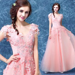Wholesale Sissi Costume - light pink rhinestone beading applique embroidery medieval dress sissi princess Medieval Renaissance Gown Victorian Belle ball