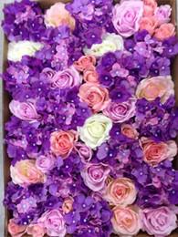 Wholesale Free Purple Backgrounds - EMS Free Shipping 10pcs lot Artificial silk rose Purple hydrangea flower wall wedding background lawn pillar flower road lead