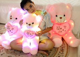 Wholesale Oversized Plush Toys - Plush toy bear light Tactic Teddy bear toy bear doll size pillow birt hday girls hug Light pillow cute doll oversized lovers 50cm