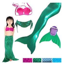 Wholesale Girls Fashion Bikini - New Mermaid Swimsuit Fashion children swimsuit Gilrs shell bikini +Swim tail+Flipper 3pcs sets baby girls beach swimsuits cos clothing A9158