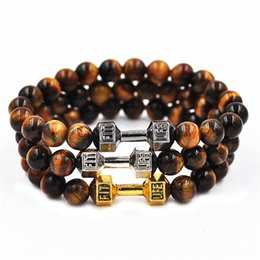 Wholesale Tiger Eye Stretch Bracelet - New Tiger Eye Stone Beaded Fitness Life Lift Energy Power Dumbbell Stretch Bracelet Fashion Accessories free shipping
