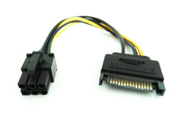 Wholesale Pci Express Cable Extension - 20CM 15-Pin Sata (M) to 6-Pin PCI Express (F) Extension Power Cable Free Shipping