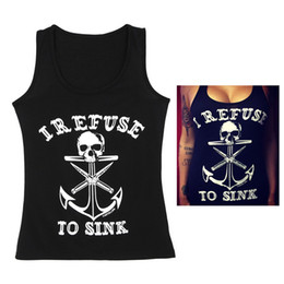 Wholesale Skull Vest Tops - New Arrivals Women's Lady's Vest Tank Tops T Shirt Sleeveless Cotton Blend Skull Anchor Print Gothic Punk Black ED33 Free Shipping