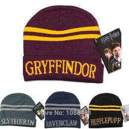 Wholesale Winter Christmas Costume - Harry Potter Stripes Knit Hat Cap Cosplay Costume Halloween Gift Slytherin Gryffindor Ravenclaw Hufflepuff Harry's Hat