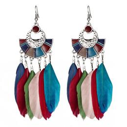 Wholesale Long Red Feather Earrings - Vintage Multicolor Feather Drop Earrings For Women Girl Bohemian Long Dangle Earring Bohemian Ethnic Jewelry HZ