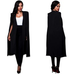 Wholesale Workwear Long Sleeve - Women Cloak Cape Long Blazer Coat Fashion Black White Personality Notched Neck Lapel Split Jacket Suits Workwear Blazer Feminino
