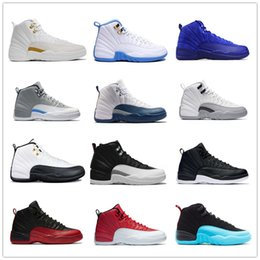 Wholesale Red Mid - Basketball shoes 12 12s Bordeaux Dark Grey wool white Flu Game UNC Gym red taxi gamma french blue Suede sneaker Sports size 7-13