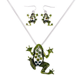 Wholesale Set Frog Plates - MS1504512 Fashion Jewelry Sets High Quality Necklace Sets For Women Jewelry Green Crystal Unique Frog Design