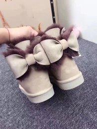 stili bowtie Sconti 2017 inverno bailey classica pelliccia arco della neve delle donne di stile di stivali invernali di alta qualità dimensioni Stivali Bowtie della neve delle donne scarpe invernali 35-40