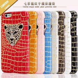 Wholesale 3d Diamond Crystal Hard Case - Luxury Diamond 3D Crystal Leopard Head Case PU Leather Hard Back Cover Protective Phone Shells For iPhone 5s 6s 6splus