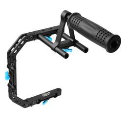 Wholesale Dslr Camera Cage Rig - FOTGA DP3000 C-Shape Bracket Cage +Top Handle Grip Support For 15mm Rod DSLR Rig