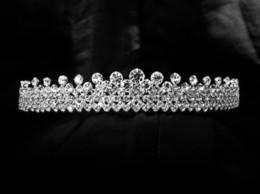 Wholesale White Indian Veil - Full Crystal Sparking Glitz Wedding Bridal Crown for Veil Crystal Diamante Tiara H210554