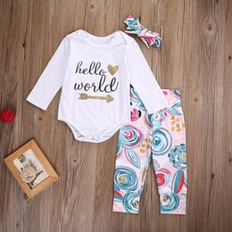 Wholesale New Girls 3pc - 2017 Autumn winter New baby girls cartoon cotton long-sleeved hellow world romper + ins infant pants + headbands 3pc set accept size choose