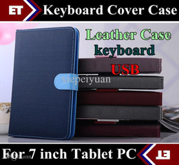 Wholesale Green Ipad Keyboard Cover - DHL 100pcs 7 inch Colorful PU Leather Case Bag USB Keyboard Cover for Android Tablet PC MID Epad free shipping TB4