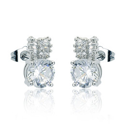 Wholesale Pretty Cut - Pretty Platinum Plated Round Cut Cubic Zirconia CZ Charm Earrings for Women Shiny Bridal Earring Free Shipping