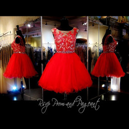 Wholesale 8th grade prom dress blue - Red Short Homecoming Dresses 2017 Cheap Gorgeous Under 100 Crystal Lace Knee Length 8th Grade Graduation For Prom Party Girls