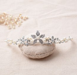 Wholesale Girls Pageant Crowning Dresses - The Actual Shooting Ladies Girl Tiara Crown Jewelry Pageant Silver Pearl Rhinestone Sparkling Evening Prom Party Dresses Accessories Supplie