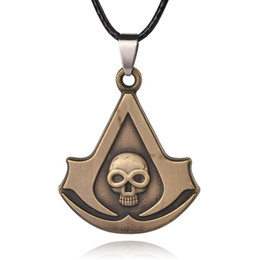 Wholesale Skull Necklace Men - Mens Jewelry Punk Rope Chain Pendant Necklace Skull Assassin's Creed Syndicate Logo Cosplay Necklaces For Men 8
