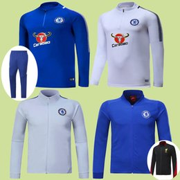 Wholesale Sport Coats Jackets - 17 18 Tracksuit Chelsea Soccer Hoodie Jacket Jogging Football Tops Coat Pants Sports Training Suit 2017 Coutinho Firmino Mane Track Suit