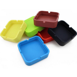 Wholesale Cool Home Gadgets - Wholesale Colorful Friendly square style Silicone Ashtray for Home novelty Crafts Pocket Ashtrays for Cigarettes cool Gadgets ashTray