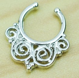 Wholesale Classic Hangers - D0604 Nose Ring nose hook Nose Rings Body Piercing Jewelry Fake Septum Clicker Non Piercing Hanger Clip On Women Body Jewellry