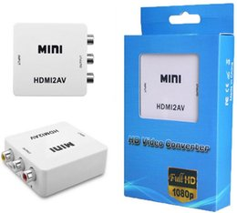 Wholesale Av Output - Mini HD Video Converter Box HDMI to AV CVBS L R Video Adapter 1080P HDMI2AV Support NTSC And PAL Output