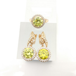 Wholesale Olive Platinum - AAA Zircon Jewelry Sets 925 Silver olive green Earrings Rings Size 7 8 9 For Women Free Jewelry Box