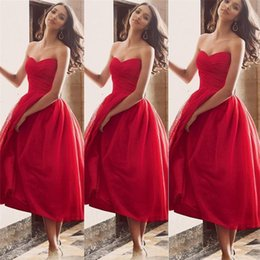 Wholesale Cheap Tea Length Bridesmaid Dressed - New Tea Length Beach Boho Bridesmaid Dress 2016 Sweetheart A Line Cheap Short Red Maid of Honor Wedding Guest Party Gowns Custom Made