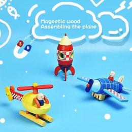 Wholesale Vehicle Intelligence - Baby Educational Toys for Intelligence Development Wooden Plane,Rocket,Helicopter Puzzle Vehicle Toy