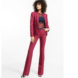 Terno de smoking feminino on-line-Borgonha Womens Calças Terno Slim Fit Feminino Terno De Negócio 2 Peça Mulheres Tuxedo Custom Made Jacket + Calças