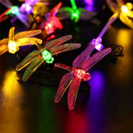 Wholesale Festival Gardens - Solar outdoor LED String lights Waterproof 6m 30 LED Christmas Solar String Lights 8 Modes Dragonfly Fairy Garden Light For festival