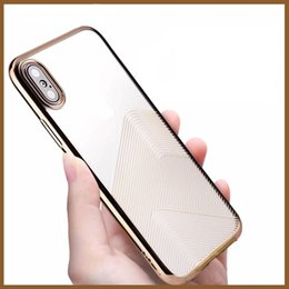 Wholesale Character Phone Cases - Ultra Thin Character Line Clear Chrome Plating TPU Soft Mobile Phone Back Case Cover For iPhone X