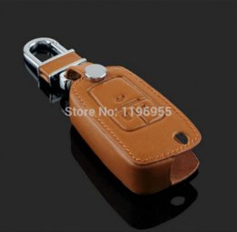 Wholesale Opel Keys Button - Genuine Leather key chain ring cover case holder For Opel Mokka Astra Corsa Antara Meriva Zafira 3 Buttons fold key car styling